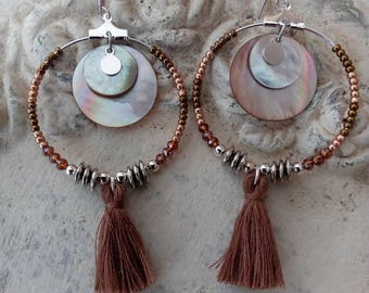 Large hoop earrings in Pearl, sequins, seed beads and Crystal