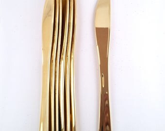 Metallic Gold Dinner Knives - Set of 25 - Anniversary Party - Wedding Tableware - Gold Foil Silverware - Gold Flatware