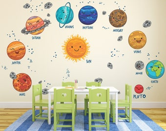 Cartoon Planets Wall Decals For New Babies / Solar System Decals / Cute  Solar System Bedroom Part 80