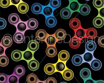 Colorful Fidget Spinner Toy Background Illustration on Black
