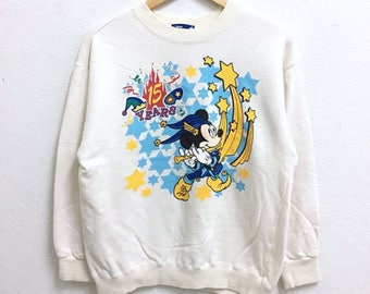 RARE!!! Mickey Mouse Anniversary 15 Years Cartoon By Disneyland Big Logo Multicolour Crew Neck Sweatshirts Hip Hop Swag M Size