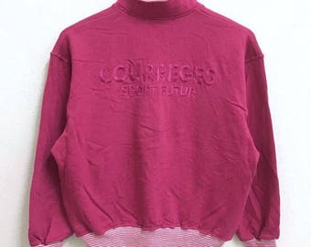RARE!!! Courreges Sport Big Logo Emboidery Half Zipper Sweatshirts Hip Hop Swag M (Ladies) Size