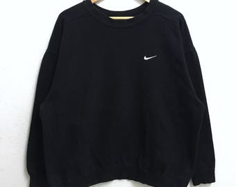 RARE!!! Nike Swoosh Small Logo Embroidery Crew Neck Black Colour Sweatshirts Hip Hop Swag L Fit XL Size