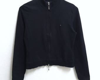 RARE!!! Tommy Hilfiger Small Logo Embroidery Dark Blue Colour Zipper Sweaters Hip Hop Swag M (Ladies) Size