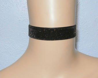 Black & Gold Glitter Sparkle 24mm Velvet Choker Ribbon Ties Free Size