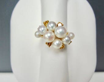 18K Yellow Gold, Cultured Pearls and Natural Diamond Ring - .48 Carats