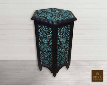 "SALE! Vintage Pedestal, Hexagonal - Reverse Painted Glass (eglomise) - 13.4"" x 13.4"" x 22"""