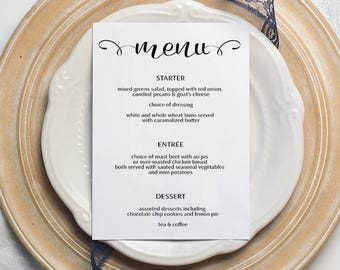 M2 | 5 X 7 Menu | Wedding, Party, Reception | Printable and Editable | Template | PDF | Instant Download