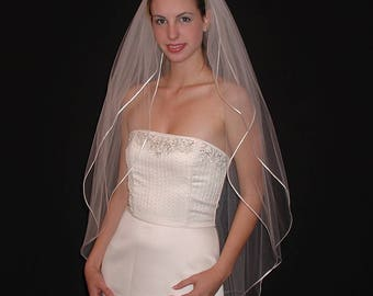 "42"" Double Tier Fingertip Veil with 1/8"" Satin Cord Edge"