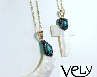 Long Necklace with shell pendant  / each
