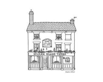 Kelham Island Tavern Print - Sheffield Illustration - Sheffield Gift - Sheffield Architecture - Building drawing - Black and White