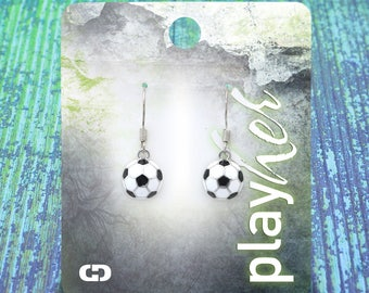 Enamel Soccer Dangle Earrings - Great Soccer Gift! Free Shipping!