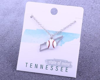 Customizable! State of Mine: Tennessee Baseball Enamel Necklace - Great Baseball Gift!