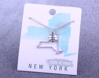 Customizable! State of Mine: New York Basketball Silver Necklace - Great Basketball Gift!