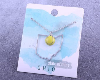 Customizable! State of Mine: Ohio Tennis Enamel Necklace - Great Tennis Gift!