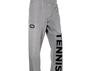 Tennis Logo Sweatpants, Grey - 7 Logo Colors, Free Shipping! Great Tennis Gift!