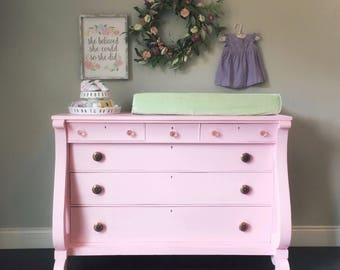 Perfectly Pink Vintage Empire Dresser ~ Little Miss Morgan ~ nursery dresser changing table