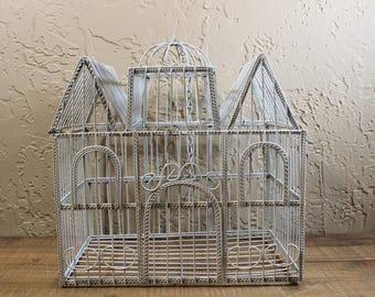 Vintage Distressed Birdcage / White Wedding Cardbox / Vintage Wire Birdcage