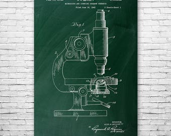 Microscope Poster Patent Print Gift, Science Art, Microscope Patent, Biology Gift, Biologist Gift, Science Gift, Scientist Gift, Wall Art