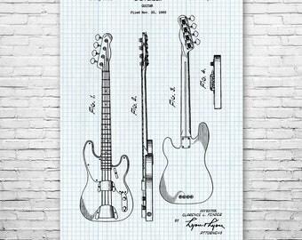 Fender Bass Guitar Poster Patent Art Print Gift, Guitar Wall Art, Guitar Player Gift, Guitarist Gift, Guitar Teacher Gift, Patent Print