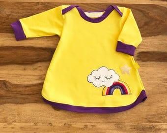 Girls Dress Toddler Dress Baby Dress Rainbow Cloud Baby Dress Organic