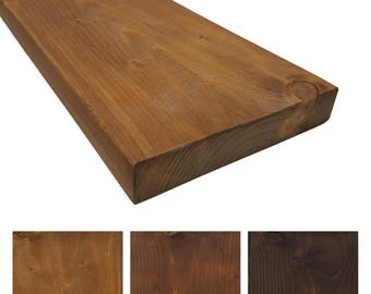 Rustic solid wood wall shelf - 24 cm deep - shelf / bookcase / Regal kitchen / breakf. Colours and sizes