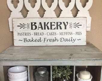 BAKERY Sign, Kitchen Sign, Rustic Distressed Sign, Fixer Upper Decor, Wall Hanging