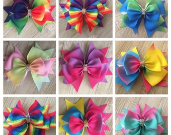 "Rainbow Ombre Boutique Bow,  Ombre Bow, 4.5"" Rainbow Boutique hairbow, Boutique Hair Bow, Rainbow Layered Hair Bow"