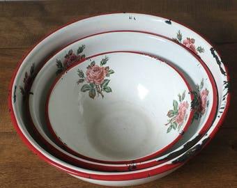 Enamelware Bowls, Set of 3 Enamelware Bowls, White Enamelware with Roses