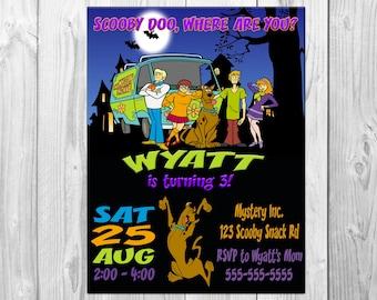 Scooby Doo Birthday Party Invitations, Scooby Doo Party, Scooby Doo Invitation, Scooby Doo Invite