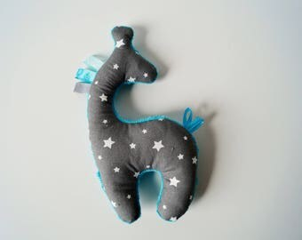 cuddly little giraffe star gray and turquoise
