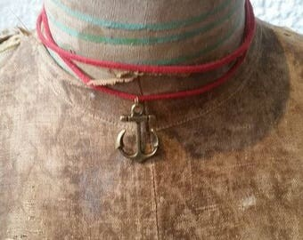 """ANCHOR, """"Choker"""" Collection was in red suede necklace"""