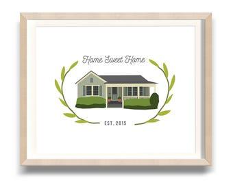 Custom House Portrait - House Warming Gift, Wedding Gift, House Illustration