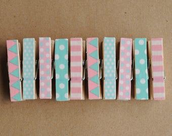 Pink mint clothespins, washi clothespins, turquoise and pink, polkadot washi, pink washi tape, babyshower pegs, baby card garland, jute rope