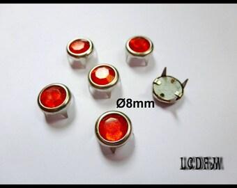 * ¤ Set of 6 claw studs round red - Ø 8mm rhinestones ¤ * #D35