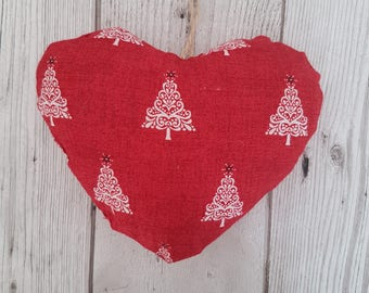 Nordic Stuffed heart decoration, Christmas Tree, handmade heart, tree decoration, Scandi Christmas fabric, Nordic fabric