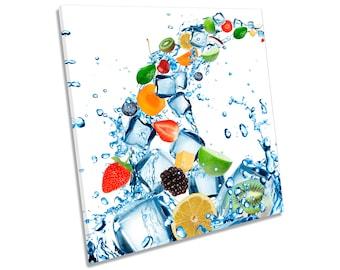 Fruit Water Splash Ice Cubes Kitchen CANVAS WALL ART Square Print