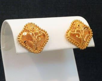 22K Solid Gold Earrings Jewelry Ornament Stud Screw Back Genuine & Hallmarked 22KT GOLDSHINE
