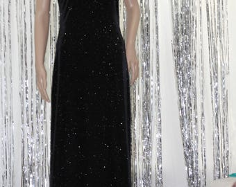 Sparkling Black Sequined 90's Vintage Onyx Nite by Wendye Chaitin Dres, Stunning 10