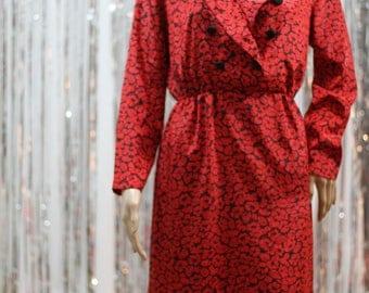 Vintage Red Black Kevin Stuart Red & Black Dress (8)