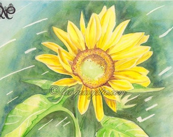 Flowered green Sun summer Nm56 Watercolour Flower print