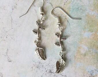 Silver Dangle Earrings, Leaf Earrings, Leaf Vine Earrings, Garden Jewelry, Nickel Free Earrings, Nickel Free Ear Wire, Gift for Gardener