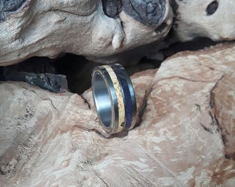 Titanium ring with maple burl and olive wood
