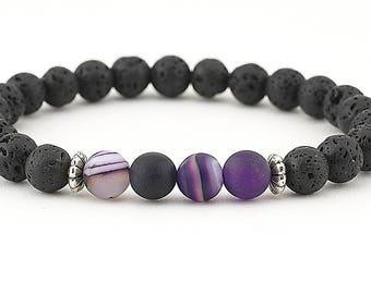 lava bead bracelet, essential oil, diffuser bracelet, purple agate, stretch bracelet, essential oil bracelet, jewelry, aromatherapy, boho