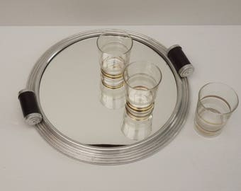french Art Deco Round Vanity Tray, aluminum Frame With Black Scroll Handles Wooden Mirror, Mirror Cocktail Tray 1930's