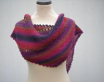 """Triangle Shawl, shawl """"restling"""", stole, scarf, knitted, fuchsia blue"""