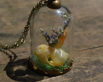Bat Skull & Citrine Dome Necklace