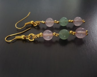 Aventurine and Rose Quartz Earrings