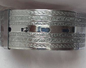 Vintage Art Deco wide chrome on brass bangle adjustable widest setting inner diameter 6.5 cm