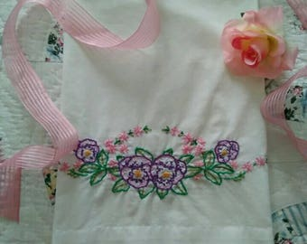 Vintage, Hand Embroidered, Purple Flowers, Pink Flowers, (Standard) Pillow Case
